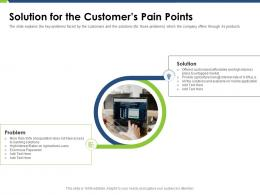 Solution For The Customers Pain Points Pitch Deck Raise Funding Post IPO Market Ppt Show Graphic