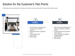 Solution For The Customers Pain Points Pitch Deck To Raise Funding From Spot Market Ppt Designs