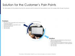 Solution For The Customers Pain Points Raise Funds After Market Investment Ppt Slides Ideas