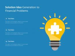 Solution Idea Generation To Financial Problems