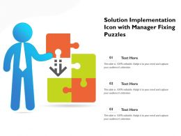 Solution Implementation Icon With Manager Fixing Puzzles
