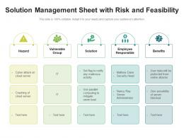 Solution Management Sheet With Risk And Feasibility