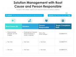 Solution Management With Root Cause And Person Responsible