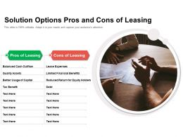 Solution Options Pros And Cons Of Leasing