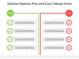 Solution Options Pros And Cons Tabular Form