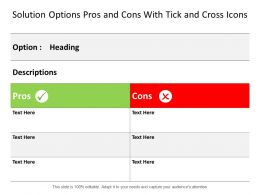 Solution Options Pros And Cons With Tick And Cross Icons