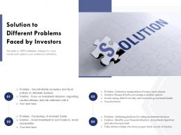 Solution To Different Problems Faced By Investors
