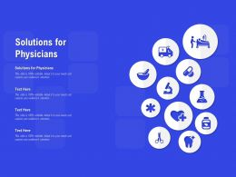 Solutions For Physicians Ppt Powerpoint Presentation Pictures Background