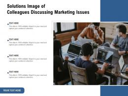 Solutions Image Of Colleagues Discussing Marketing Issues