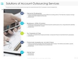 Solutions Of Account Outsourcing Services Bookkeeping Ppt Powerpoint Presentation Slides Elements