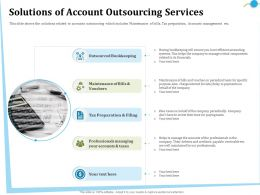 Solutions Of Account Outsourcing Services On Behalf Ppt Powerpoint Presentation Gallery Format
