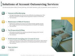 Solutions Of Account Outsourcing Services Ppt Powerpoint Presentation Icon Graphics