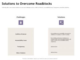 Solutions To Overcome Roadblocks Foster M1895 Ppt Powerpoint Presentation Gallery Examples