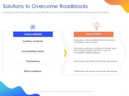 Solutions To Overcome Roadblocks Ppt Powerpoint Presentation Styles Infographics
