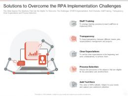 Solutions To Overcome The RPA Implementation Challenges Ppt Powerpoint Presentation Summary Slides