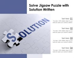 Solve Jigsaw Puzzle With Solution Written