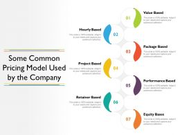Some Common Pricing Model Used By The Company