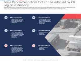Some Recommendations That Can Be Adopted By Xyz Logistics Company Supply Supply Ppt Tips