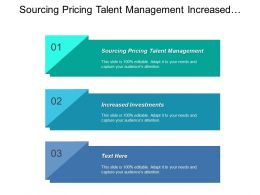Sourcing Pricing Talent Management Increased Investments Focused Execution