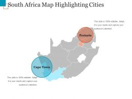 South Africa Map Highlighting Cities Ppt Sample Download