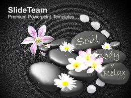 Spa Massage Stones With Flowers On Beautiful Powerpoint Templates Ppt Themes And Graphics 0113