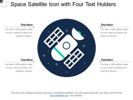 Space Satellite Icon With Four Text Holders