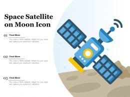 Space Satellite On Moon Icon