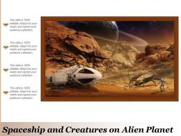 Spaceship And Creatures On Alien Planet