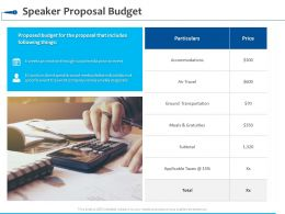 Speaker Proposal Budget Accommodations Ppt Powerpoint Presentation Visual Aids