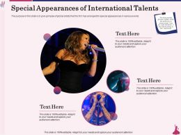 Special Appearances Of International Talents Artists Ppt Powerpoint Presentation Styles Deck