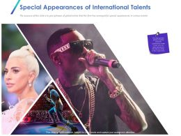 Special Appearances Of International Talents Ppt Powerpoint Mockup