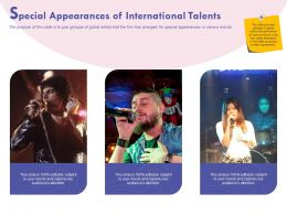 Special Appearances Of International Talents Ppt Powerpoint Presentation Gallery Grid