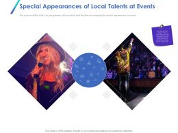 Special Appearances Of Local Talents At Events Ppt Powerpoint Presentation File