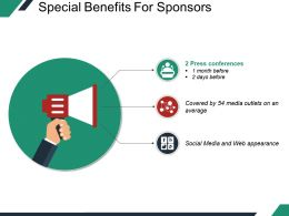 Special Benefits For Sponsors Sample Of Ppt
