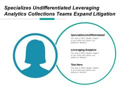 Specializes Undifferentiated Leveraging Analytics Collections Teams Expand Litigation