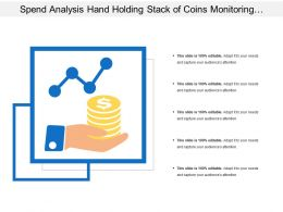 Spend Analysis Hand Holding Stack Of Coins Monitoring Compliance