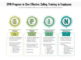 Spin Program To Give Effective Selling Training To Employees