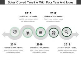 Spiral Curved Timeline With Four Year And Icons