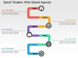 Spiral Timeline With Global Agenda Flat Powerpoint Design
