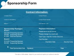 Sponsorship Form Payment Ppt Professional Graphics Tutorials