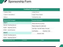 Sponsorship Form Powerpoint Slides