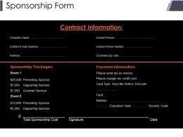 Sponsorship Form Presentation Visuals
