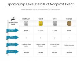 Sponsorship Level Details Of Nonprofit Event