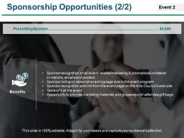 Sponsorship Opportunities Example Of Ppt