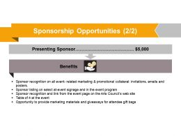 Sponsorship Opportunities Powerpoint Slide Deck Samples