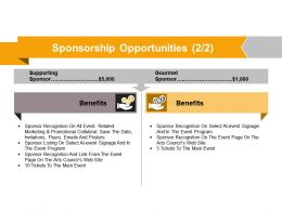 Sponsorship Opportunities Powerpoint Slide Graphics