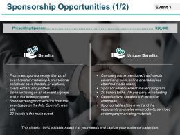 Sponsorship Opportunities Powerpoint Slide Ideas