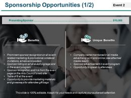Sponsorship Opportunities Ppt Portfolio Brochure