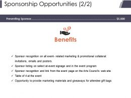 Sponsorship Opportunities Presentation Powerpoint Templates