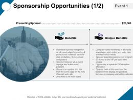 Sponsorship Opportunities Unique Benfits Ppt Professional Gridlines
